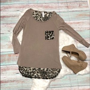 Tops - Beautiful Leopard Print 3/4 Sleeve Tee